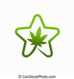 Cannabis Leaf Logo with the concept of a star
