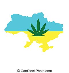 cannabis leaf on the background of the map of Ukraine. Concept of legalization of marijuana in Ukraine, decriminalization of soft drugs and the use of hemp for medical purposes.