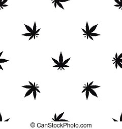 Cannabis leaf pattern seamless black
