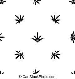 Cannabis leaf pattern seamless black