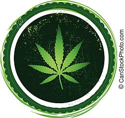 cannabis leaf, seal, stamp with grunge textures and frame