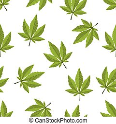 Cannabis leaf seamless on a white background