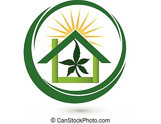 Cannabis leaf store house logo