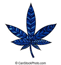 Cannabis Leaf - Stunning blue cannabis leaf in stained-glass...