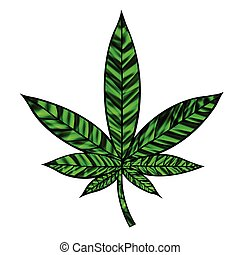 Stunning cannabis leaf in stained-glass style, isolated on white.