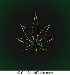 cannabis leaf vector symbol icon sign over dark background