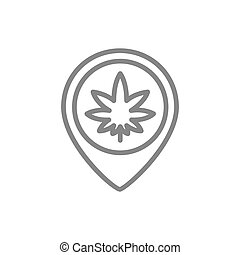 Cannabis leaf with location pin line icon.