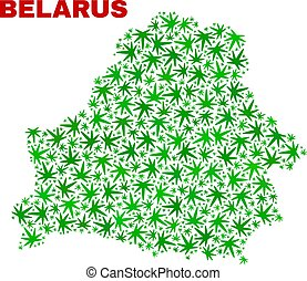 Cannabis Leaves Collage Belarus Map