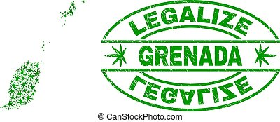 Cannabis Leaves Collage Grenada Map with Legalize Grunge Stamp Seal
