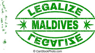 Cannabis Leaves Collage Maldives Map with Legalize Grunge Stamp Seal