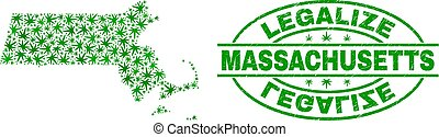 Cannabis Leaves Collage Massachusetts State Map with Legalize Grunge Stamp Seal