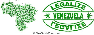 Cannabis Leaves Collage Venezuela Map with Legalize Grunge Stamp Seal