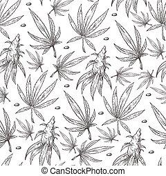 Cannabis leaves, medical marijuana foliage seamless pattern ...