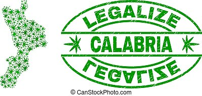 Cannabis Leaves Mosaic Calabria Region Map with Legalize...