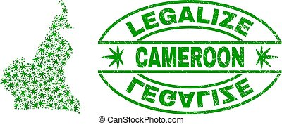 Cannabis Leaves Mosaic Cameroon Map with Legalize Grunge Stamp Seal