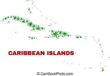 Cannabis Leaves Mosaic Caribbean Islands Map