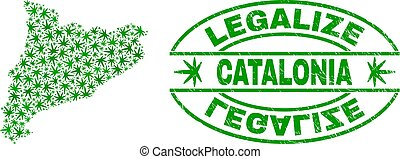 Cannabis Leaves Mosaic Catalonia Map with Legalize Grunge Stamp Seal