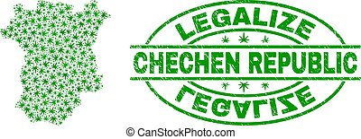 Cannabis Leaves Mosaic Chechen Republic Map with Legalize...