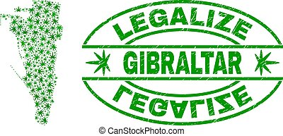 Cannabis Leaves Mosaic Gibraltar Map with Legalize Grunge Stamp Seal