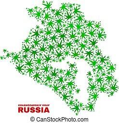 Cannabis Leaves Mosaic Krasnodarskiy Kray Map - Vector ...