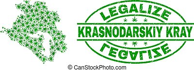 Cannabis Leaves Mosaic Krasnodarskiy Kray Map with Legalize ...
