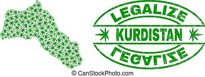 Cannabis Leaves Mosaic Kurdistan Map with Legalize Grunge Stamp Seal
