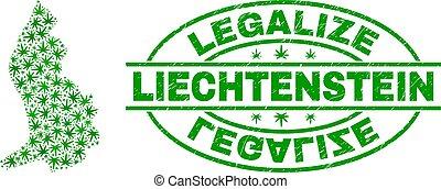 Cannabis Leaves Mosaic Liechtenstein Map with Legalize Grunge Stamp Seal