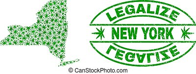 Cannabis Leaves Mosaic New York State Map with Legalize Grunge Stamp Seal