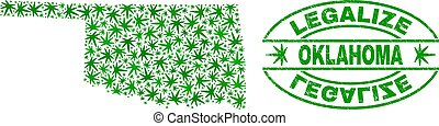 Cannabis Leaves Mosaic Oklahoma State Map with Legalize Grunge Stamp Seal