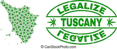 Cannabis Leaves Mosaic Tuscany Region Map with Legalize...