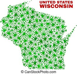 Cannabis Leaves Mosaic Wisconsin State Map