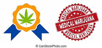 Cannabis Legalize Icon with Distress Medical Marijuana Stamp
