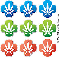 cannabis, médico, vector, pegatina