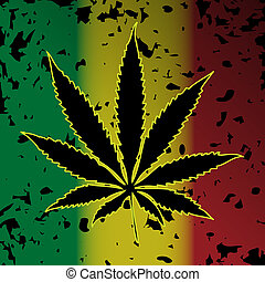 Illustration of cannabis as a symbol on abstract background.