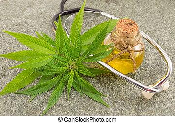 cannabis, marijuana, óleo, estetoscópio