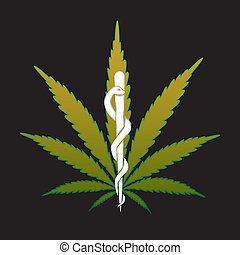 cannabis, marijuana, en, médico, reciept, -, ilustración