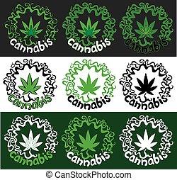 Cannabis Marijuana hemp leaf stamp