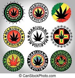 Cannabis Marijuana hemp leaf symbol