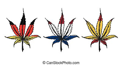 Cannabis (marijuana) leaf ,hand drawn set with flags