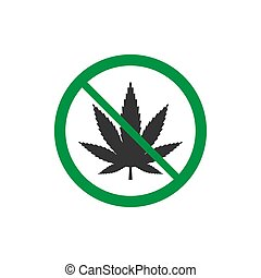 Cannabis, marijuana leaf icon, no drug sign. Vector illustration