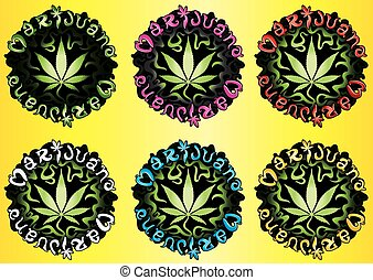 Cannabis Marijuana hemp leaf symbol stamps vector illustration