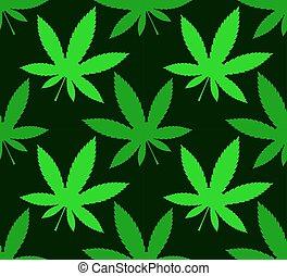 Cannabis marijuana leafs on a dark background, seamless vector pattern