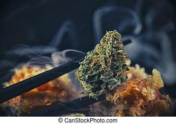 "cannabis, marijuana, macro, sushi, detalhe, ""black, tensão, chopsticks, tuna"", broto"