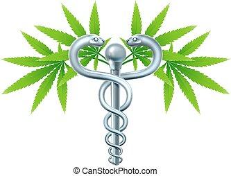 cannabis, medicinsk, marijuana, caduceus