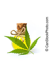 Cannabis oil and marijuana leaf isolated