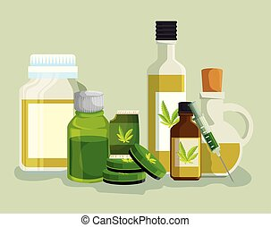 cannabis oil in the crystal bottles with medicine ointment and syring
