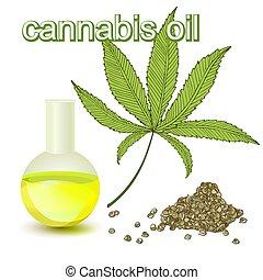 Cannabis oil, leaf, cannabis seeds on white