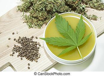 cannabis, ointment, feito, cura, lar