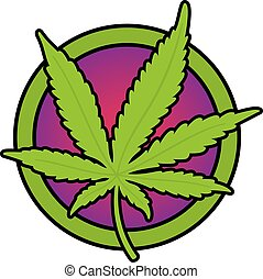 Detailed bold outline illustration of cannabis leaf on psychedelic purple background.