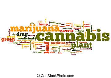 cannabis, palavra, nuvem
